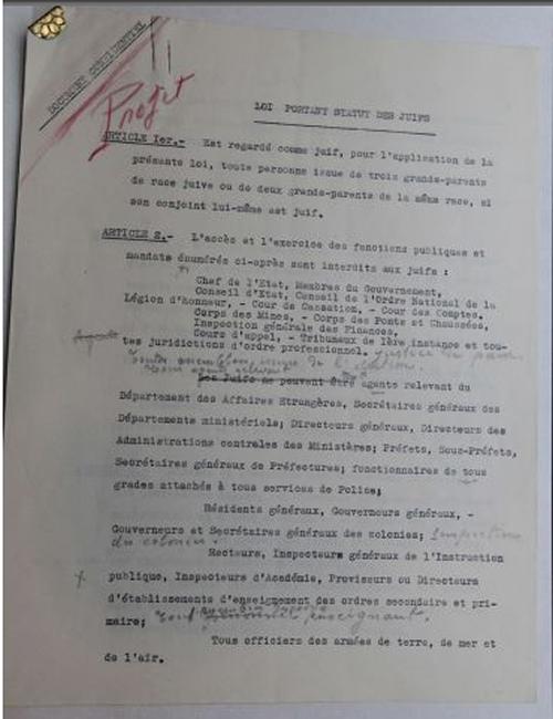 Découverte du texte original établissant un statut pour les juifs sous Vichy