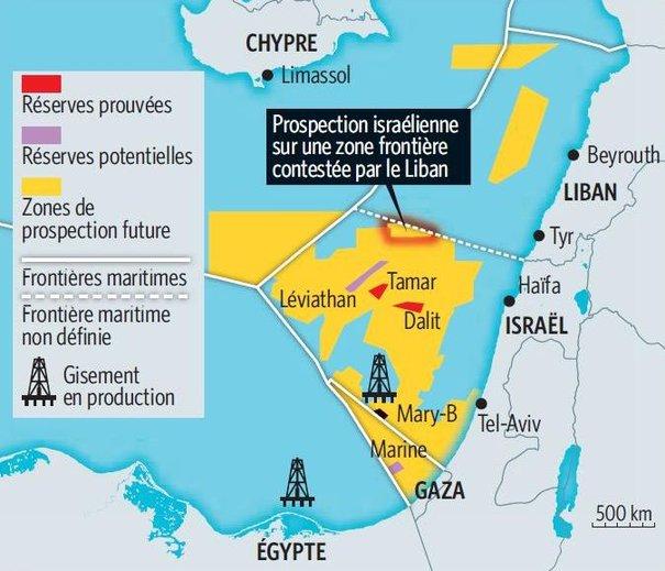 Carte des forages de gaz au large d'Isaël