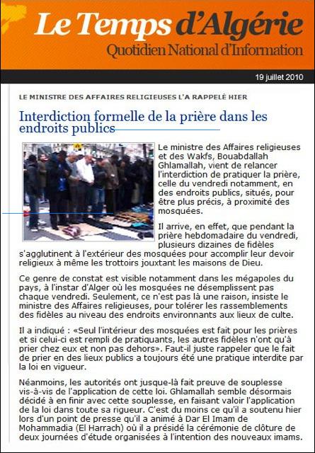 Scoop: en Algérie les prières sont interdites dans les rues, pas en France !