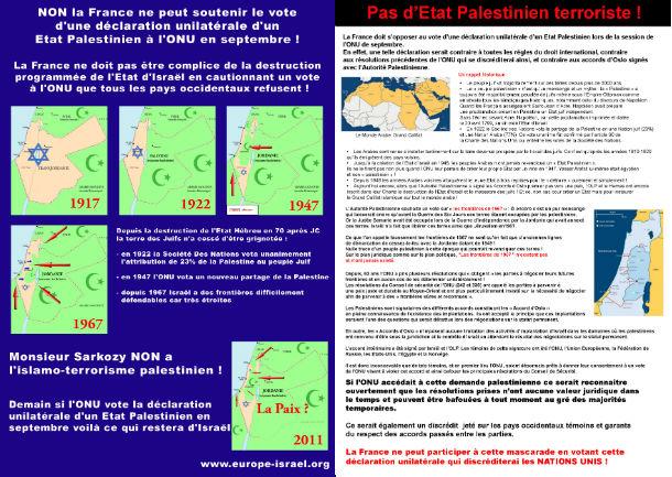 Tract contre la déclaration unilatérale d'un Etat Palestinien à l'ONU en septembre