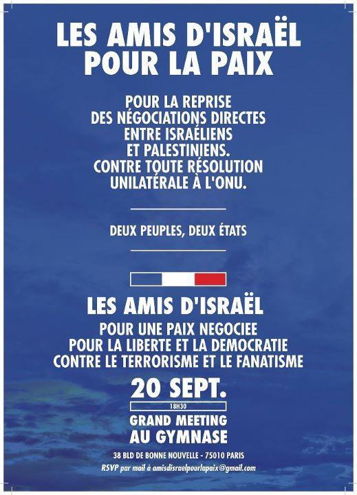 Europe Israël soutient l'initiative des parlementaires les Amis d'Israël qui organisent un grand meeting Contre toute résolution unilatérale à l'ONU.