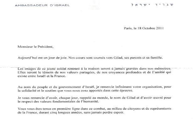 L'Ambassade d'Israël remercie Europe Israël pour nos actions en faveurs de Guilad Shalit