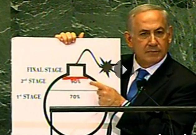 Flash info – Vidéo : Netanyahu dessine pour expliquer la bombe atomique iranienne à l'ONU !