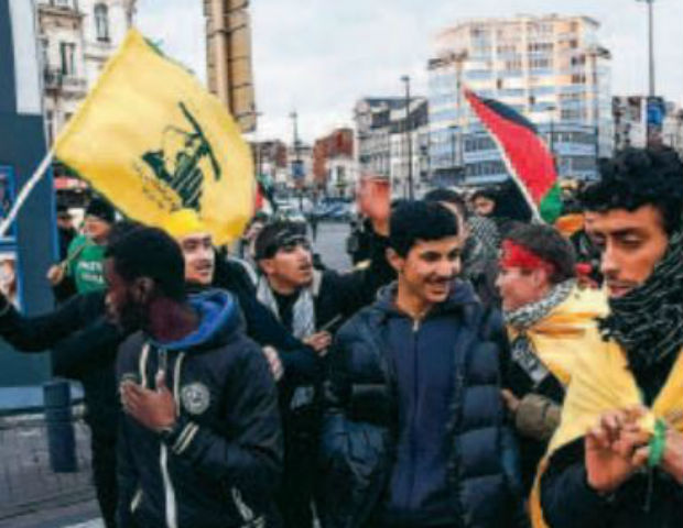 Vidéo – Bruxelles : drapeaux du Hezbollah dans une manifestation de soutien à Gaza