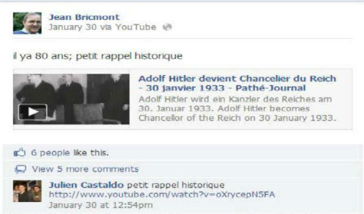 Sur la page Facebook de Jean Bricmont on loue Hitler