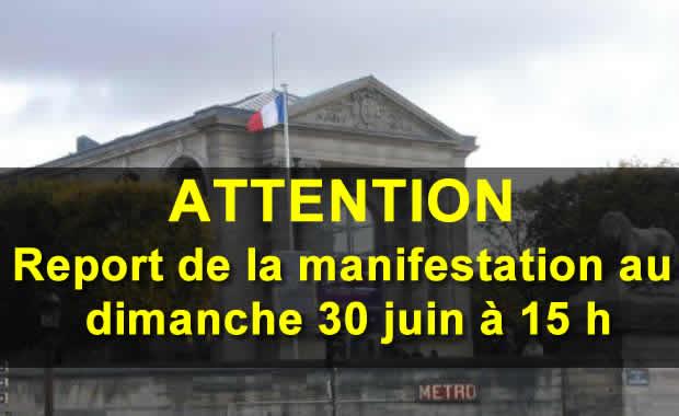 Report au dimanche 30 juin de la Manifestation contre l'exposition qui fait l'apologie du terrorisme au Musée du Jeu de Paume