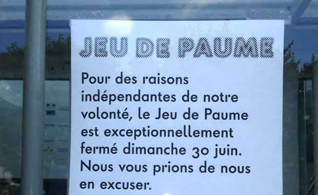 La manifestation prévue devant le Jeu de Paume le 21 juillet est interdite en raison de l'arrivée du Tour de France
