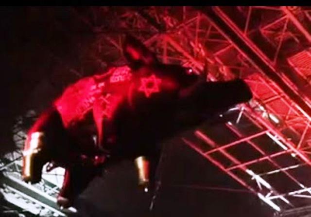 Une étoile de David sur un cochon dans un concert de Roger Waters en Belgique et aux Pays-Bas