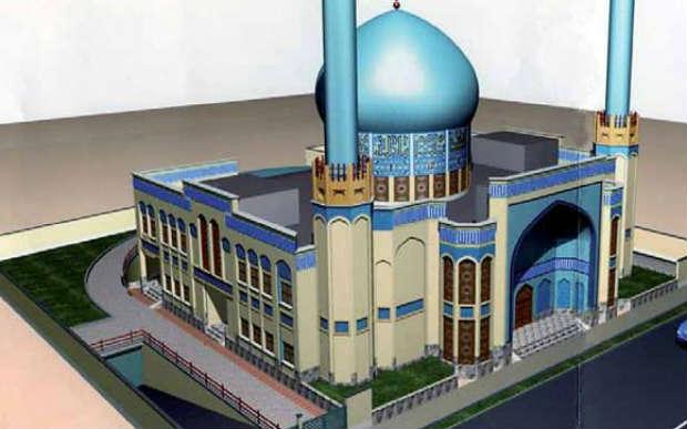 L'ombre du minaret de la méga-mosquée sunnite assombrit le ciel danois