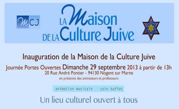 Inauguration de la Maison de la Culture Juive Dimanche 29 Septembre à partir de 13h