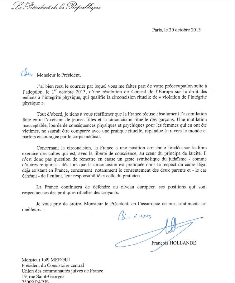 Réponse du président François Hollande: «Il n'est pas question de remettre en cause la circoncision en France»