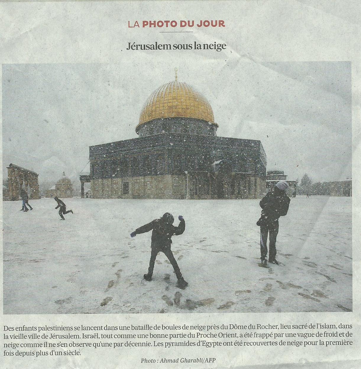Désinformation : le Dôme du Rocher résume Jérusalem sous la neige, pour « les Echos »
