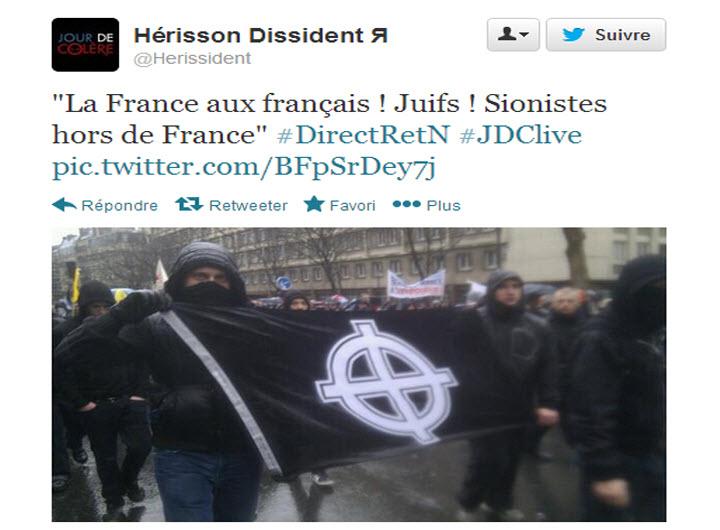 La manif anti-Hollande tourne à la démonstration antisémite:  «Juif, la France n'est pas à toi!», «Juifs hors de France !»