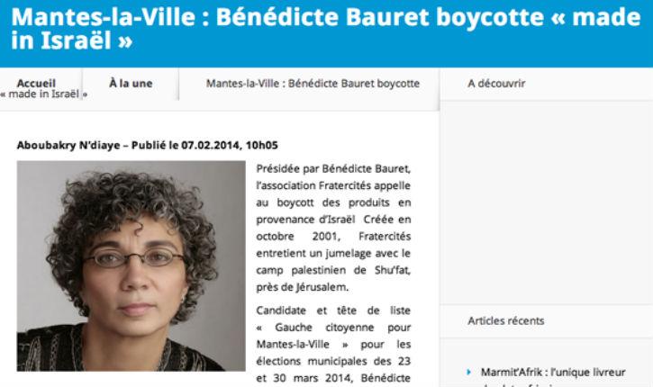 Bénédicte Bauret une candidate de gauche antisémite, euh pardon «antisioniste», aux municipales à Mantes-la-ville appelle au boycott illégal des produits israéliens !