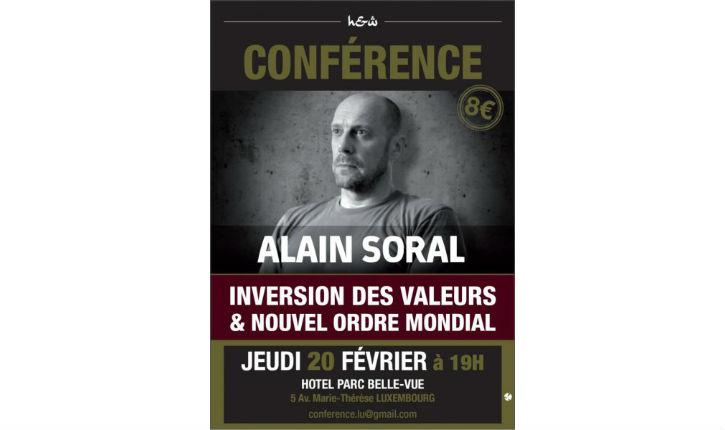 Luxembourg: La conférence d'Alain Soral est annulée ! On ne veut pas de lui là bas…