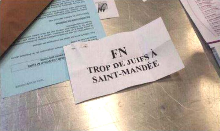 Municipales: bulletin de vote antisémite «FN – Trop de juifs à Saint-Mandé» !