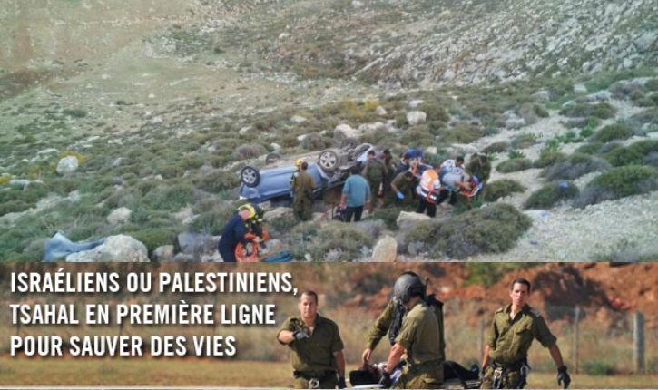Des Palestiniens sauvés par des soldats après un accident de la route