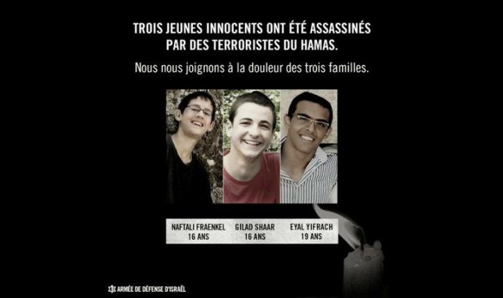 Israël en deuil: nos trois garçons sauvagement abattus.
