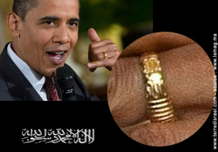 ... Allah », inscrite sur la bague de Barack Obama.  Europe Israël news