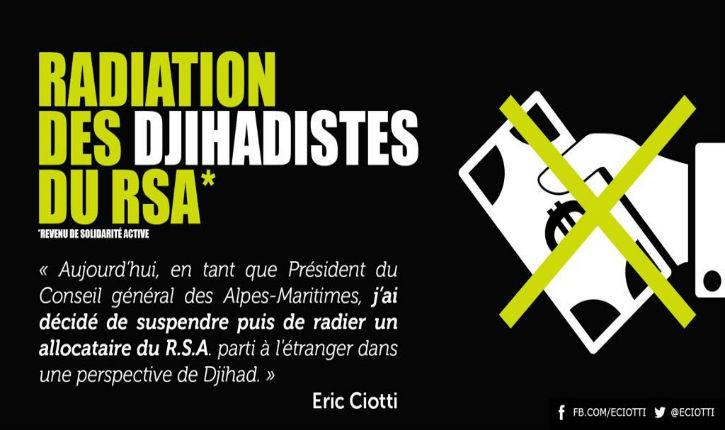 Eric Ciotti radie du RSA un allocataire islamiste parti faire le djihad