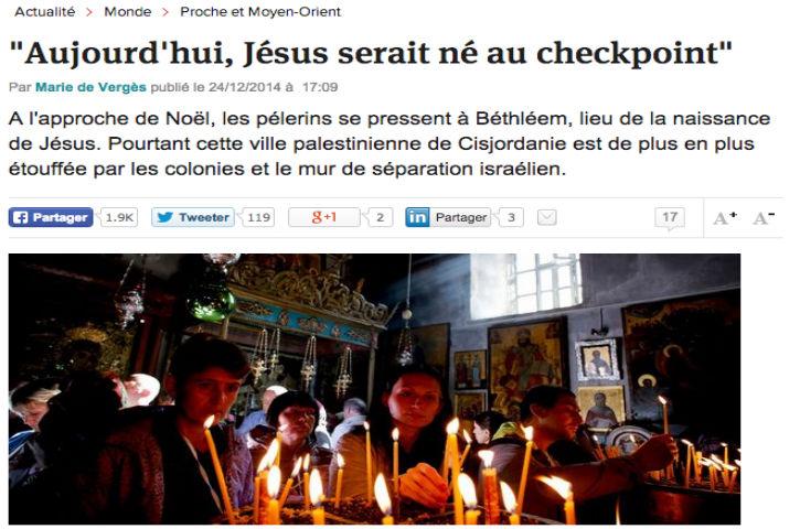 Non « L'Express », si Jésus était né aujourd'hui, ce serait bien un juif victime du terrorisme palestinien et non l'inverse !