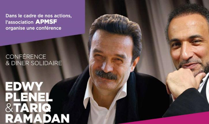 L'islamiste Tarik Ramadan et le journaliste d'extrême gauche Edwy Plenel, la solidarité islamo-gauchiste antisioniste en spectacle à Brétigny !