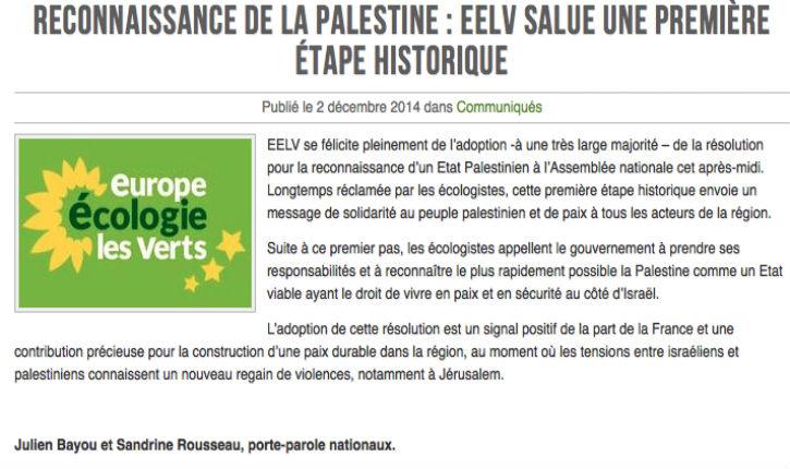 Écologistes : Placé (EELV) regrette que son parti soit celui « des Roms et de la Palestine »