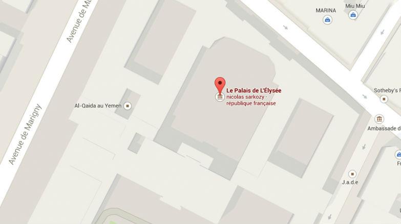 Google map a été piraté par les islamistes. Al Qaïda au Yemen situé à l'intérieur de l'Elysée