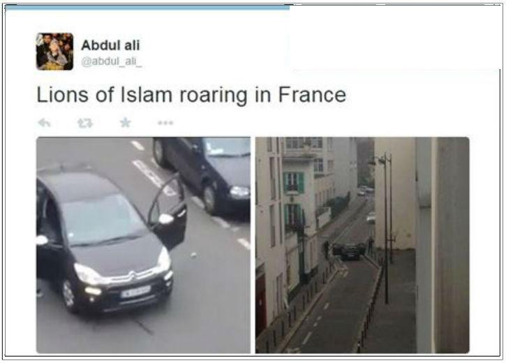 Les partisans du djihad en ligne célèbrent l'attentat au siège de l'hebdomadaire satirique français « Charlie Hebdo »