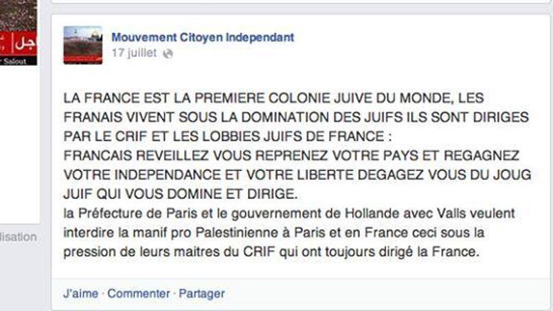 propos antisémites du MCI Mouvement Citoyen Indépendant
