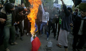 Caricatures : drapeau français brulé à Gaza