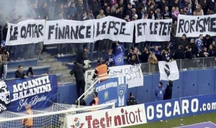 Attentat Charlie Hebdo: les supporters du SC Bastia déploient une banderole «Le Qatar finance le PSG… et le terrorisme»