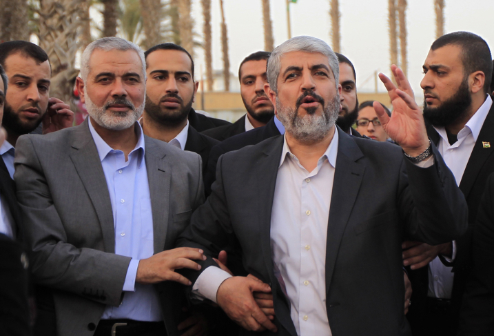 Hamas leader in exile Khaled Meshaal in southern Gaza Strip