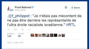 tweet Florian Philippot anti-israélien