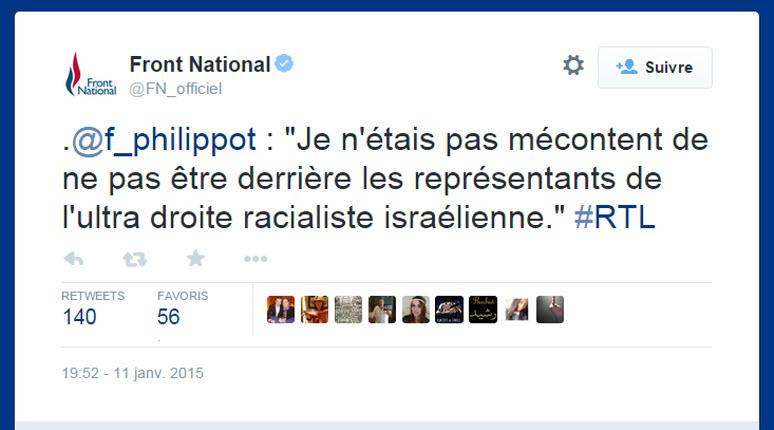 Léchage de babouches de Philippot par tweet anti-israélien  «Je n'étais pas mécontent de ne pas être derrière les représentants de l'ultra droite racialiste israélienne.»