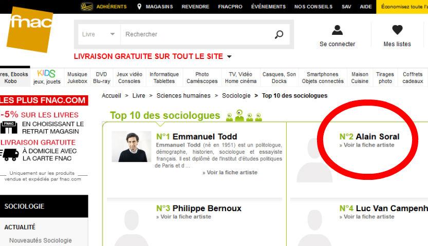 L'antisémite complotiste Alain Soral dans le «Top 10 des sociologues» pour… la FNAC !