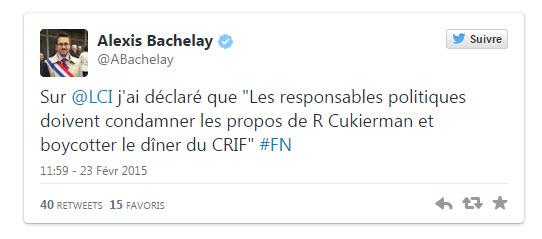 """Sur @LCI j'ai déclaré que """"Les responsables politiques doivent condamner les propos de R Cukierman et boycotter le dîner du CRIF"""" #FN"""
