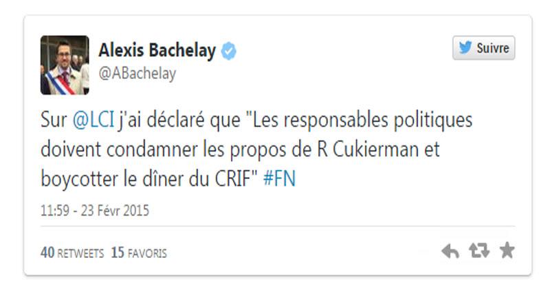 Après les propos de Roger Cukierman, Alexis Bachelay député PS dhimmi, appelle François Hollande à ne pas se rendre au dîner du Crif