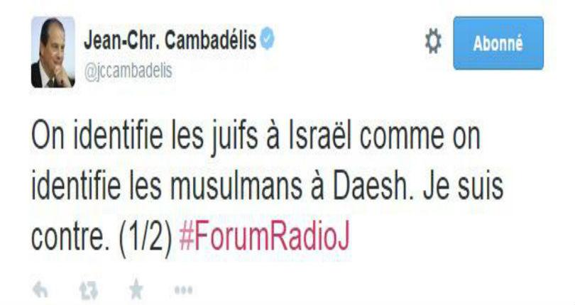 Scandaleux dérapage de Cambadélis qui ose comparer les juifs de France et Israël aux musulmans et Daesh