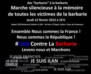 Des « barbares » à la barbarie Marche silencieuse jeudi 12 février 2015 à 18 h