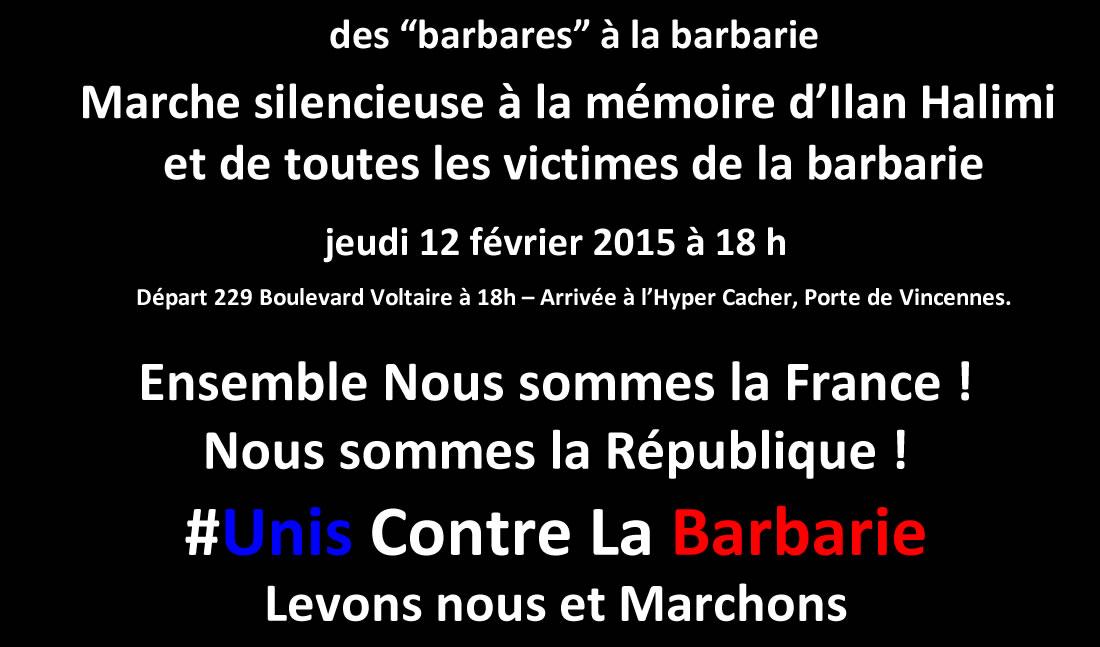 Des « barbares » à la barbarie, Marche silencieuse jeudi 12 février 2015 à 18 h