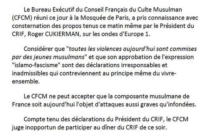 Les responsables musulmans du CFCM boycottent le dîner du CRIF. Certaines vérités sur l'antisémitisme des jeunes musulmans semblent gênantes…