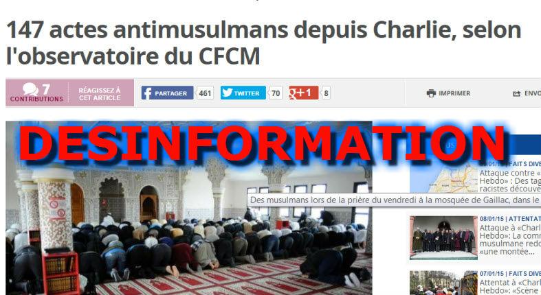 Désinformation: Selon les médias 147 actes anti-musulmans sans aucune confirmation officielle, mais silence sur les 150 agressions de soldats devant les synagogues !