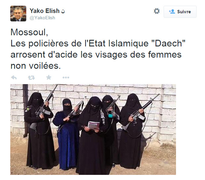 mossoul les polici res de l 39 etat islamique arrosent d 39 acide les visages des femmes non voil es. Black Bedroom Furniture Sets. Home Design Ideas