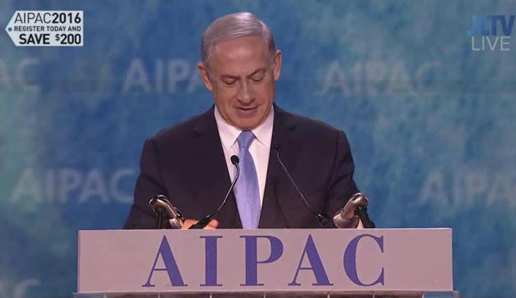 Benjamin Netanyahou à l'AIPAC » les Etats-Unis et Israël sont plus que des alliés. Nous sommes une famille. Nous partageons les mêmes valeurs, le même destin»