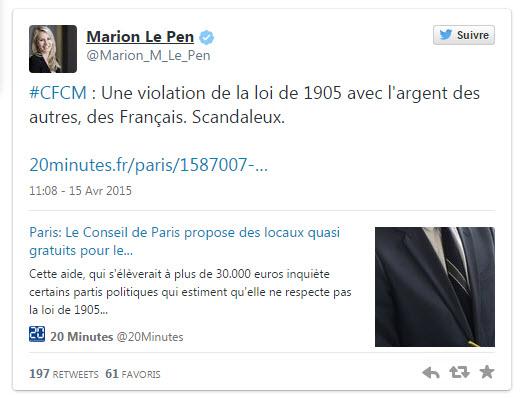 Marion Maréchal Le Pen CFCM