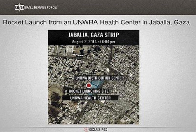 Un centre médical de l'UNRWA rattaché à un centre de distribution à Jabaliya ont été exploités par les terroristes du Hamas pour comme site de tir de rockets à partir duquel étaient lancées des attaques contre des civils israéliens. L'imagerie satellitaire en fournit la preuve.