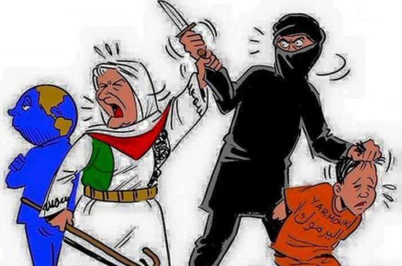 Les djihadistes de l'Etat Islamique piétinent le drapeau «palestinien» et décapitent le Hamas à Yarmouk….