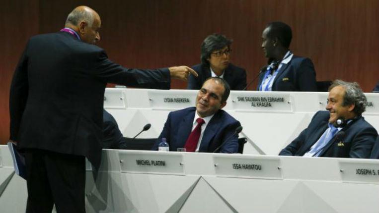 Djibril Rajoub en compagnie de Michel Platini et du Prince Ali de Jordanie