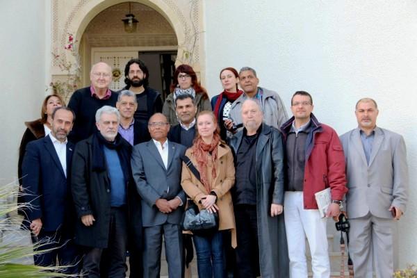 Moncef Marzouki et le collectif de la « flottille de la liberté »